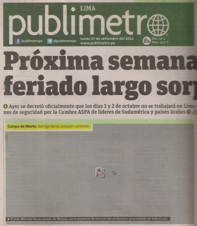 Front page of Publimetro from Sept 17, 2012